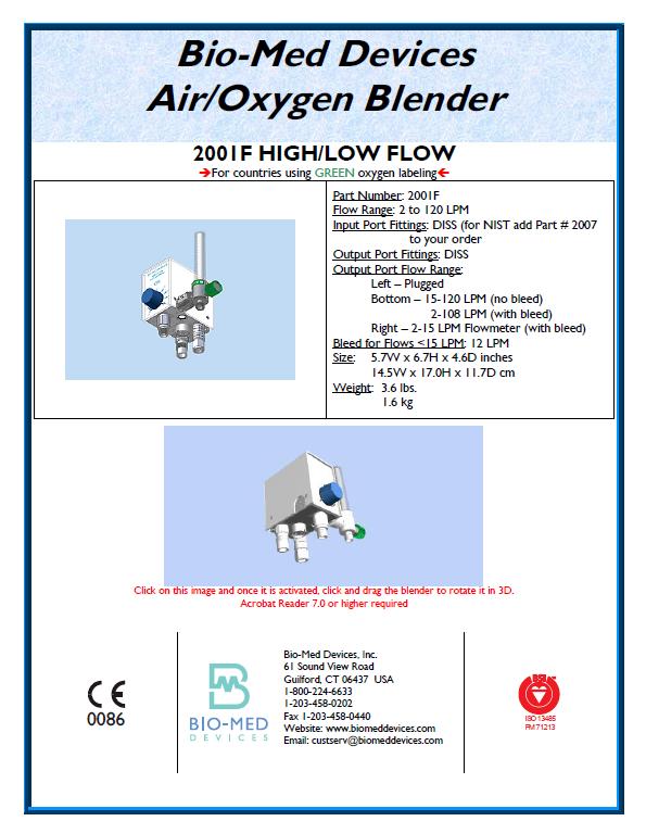 Air Oxygen Blender 2001F High Low Flow