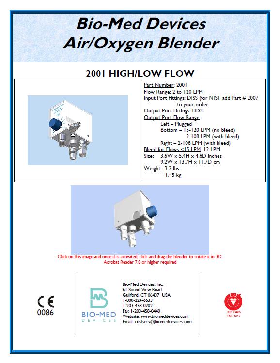 Bio-Med Devices - Air Oxygen Blender 200I High Low Flow